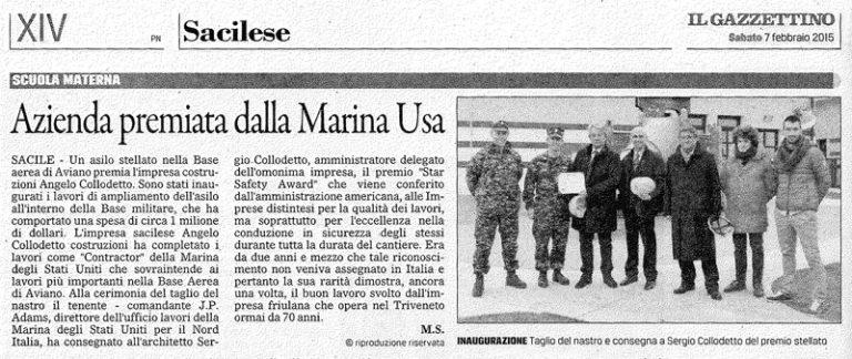 Dal Gazzettino azienda premiata dalla Marina USA